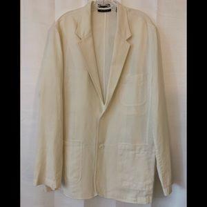 Brandini White Linen Men's Suit Jacket - Size XL
